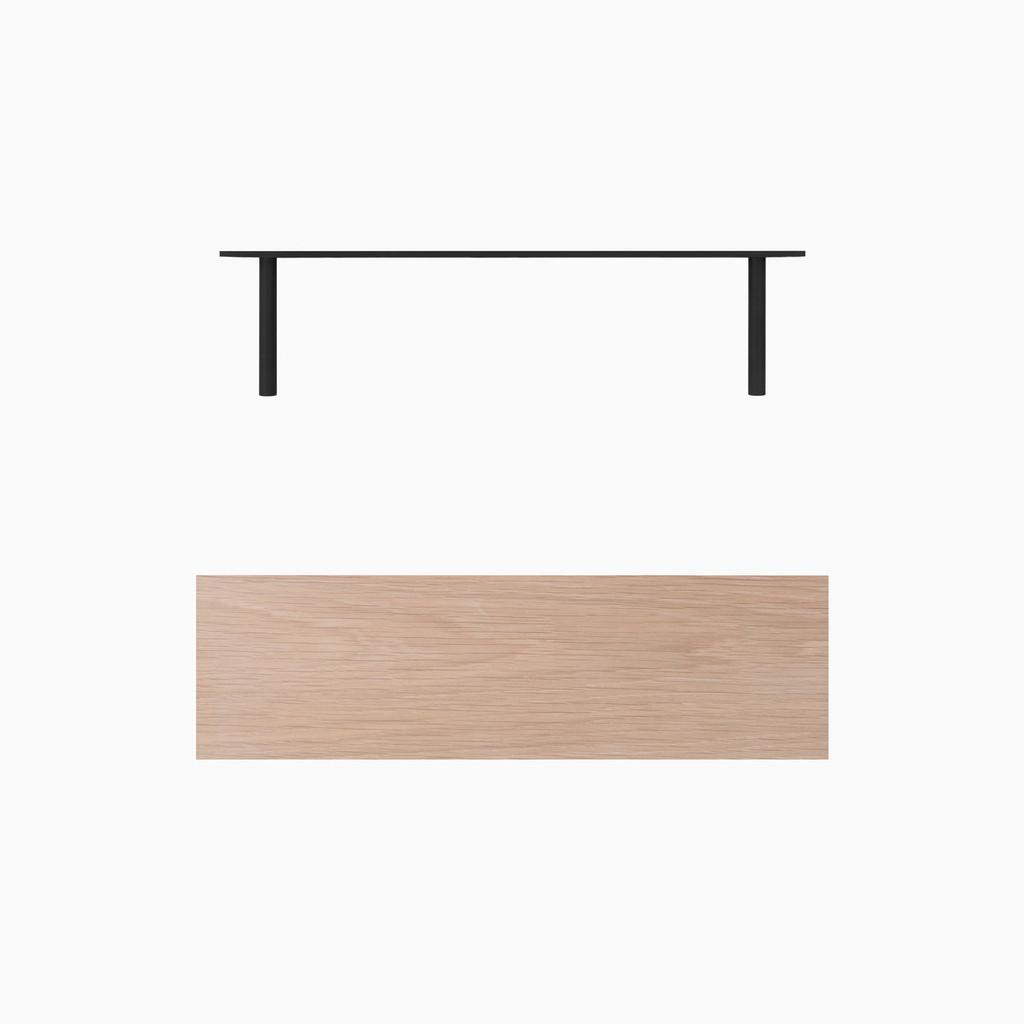 Glazed White Oak floating wood shelves. Includes heavy duty concealed floating shelf bracket.