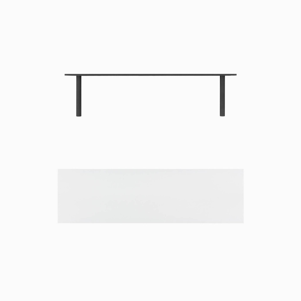 """White painted floating shelf. Choose any length from 12 to 84 inches. All shelf options are 2"""" thick, available in 6"""", 8"""", 10"""", and 12"""" depths, and include heavy duty floating shelf bracket."""