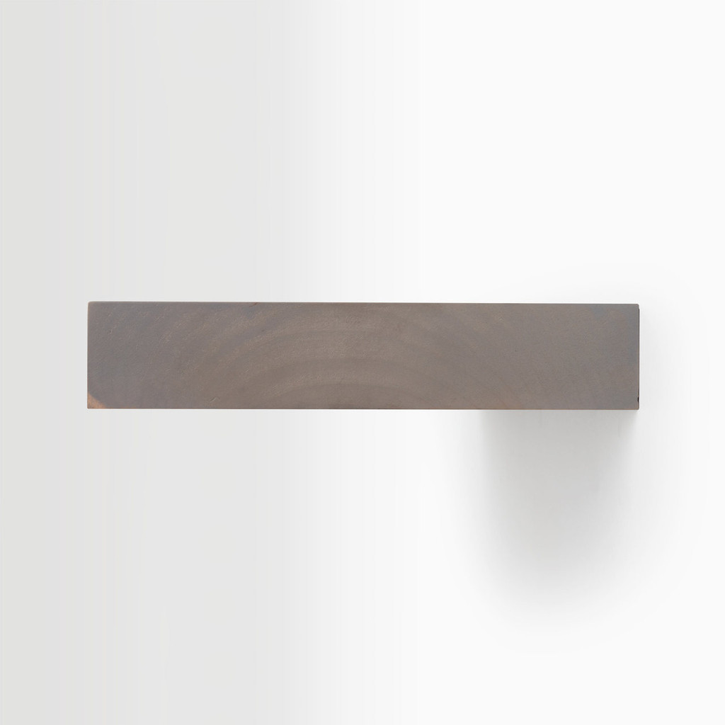 Side edge of our hatch grey floating shelf. Easy to install on most wall treatments and is hardware is completely invisible.