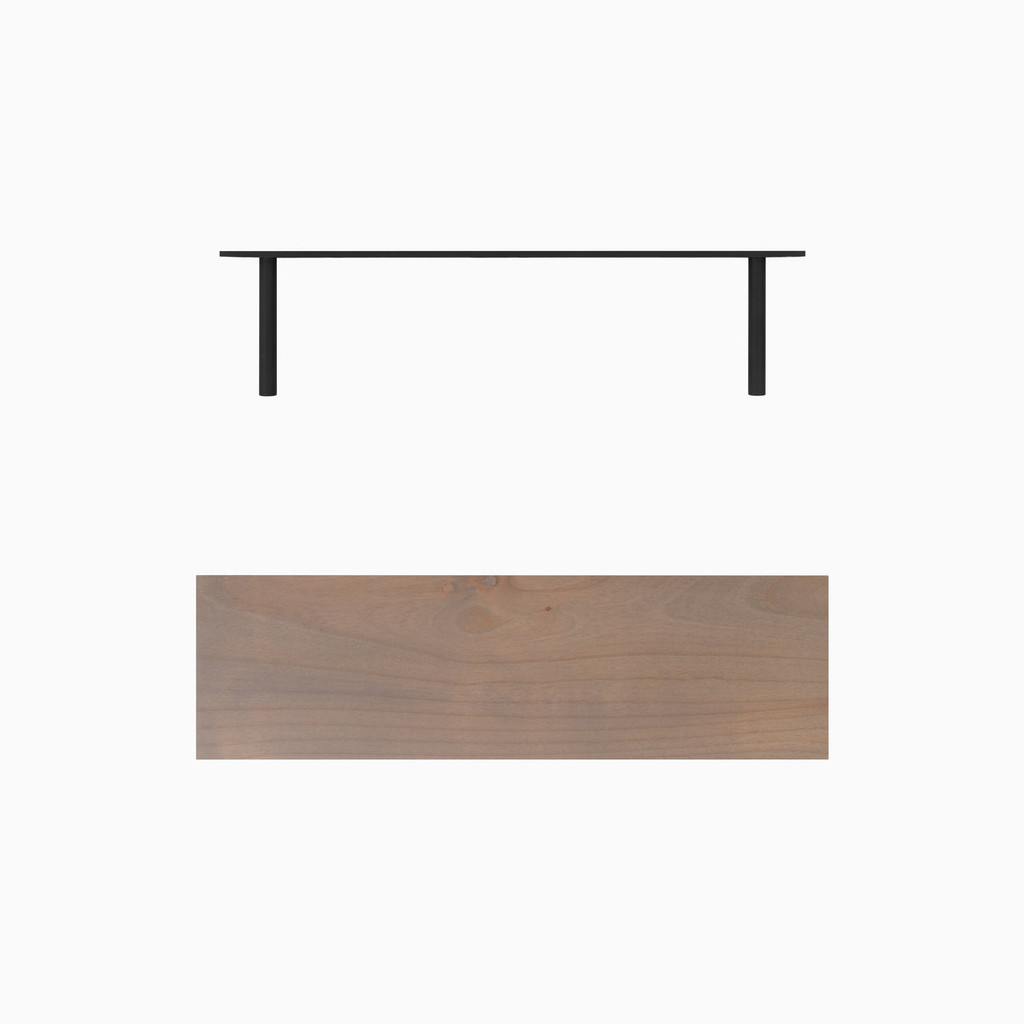 "Grey stained solid alder floating shelf. Choose any length from 12 to 84 inches. All shelf options are 2"" thick, available in 6"", 8"", 10"", and 12"" depths, and include heavy duty floating shelf bracket."