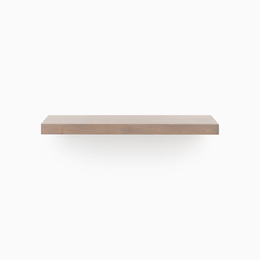 Our Hatch Grey floating wood shelves are easy to install and will float real weight.