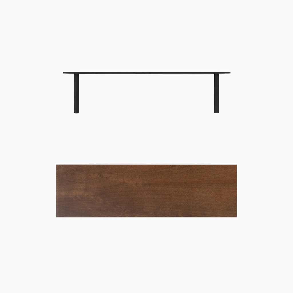 Dark brown stained solid alder floating wood shelves. Includes heavy duty floating concealed shelf bracket.
