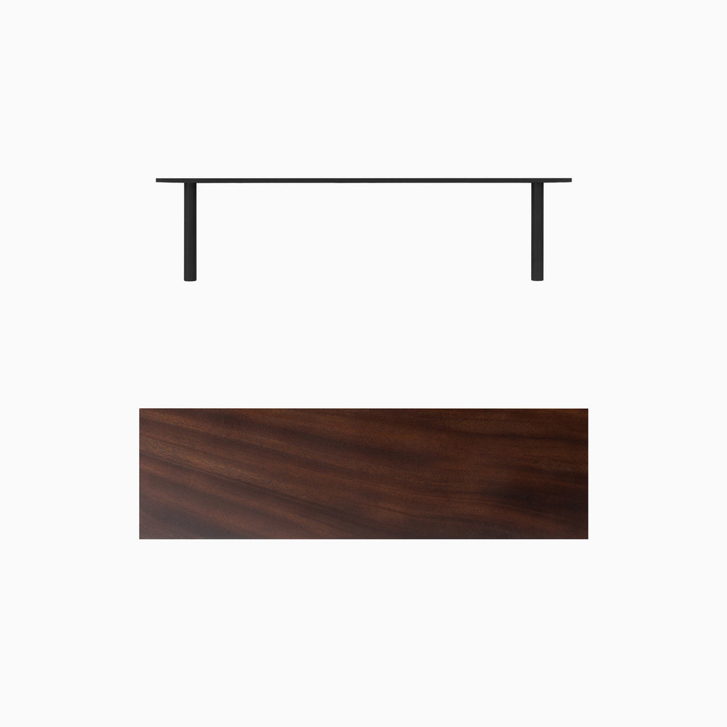 Dark brown stained solid mahogany floating wood shelves. Includes heavy duty floating shelf bracket.