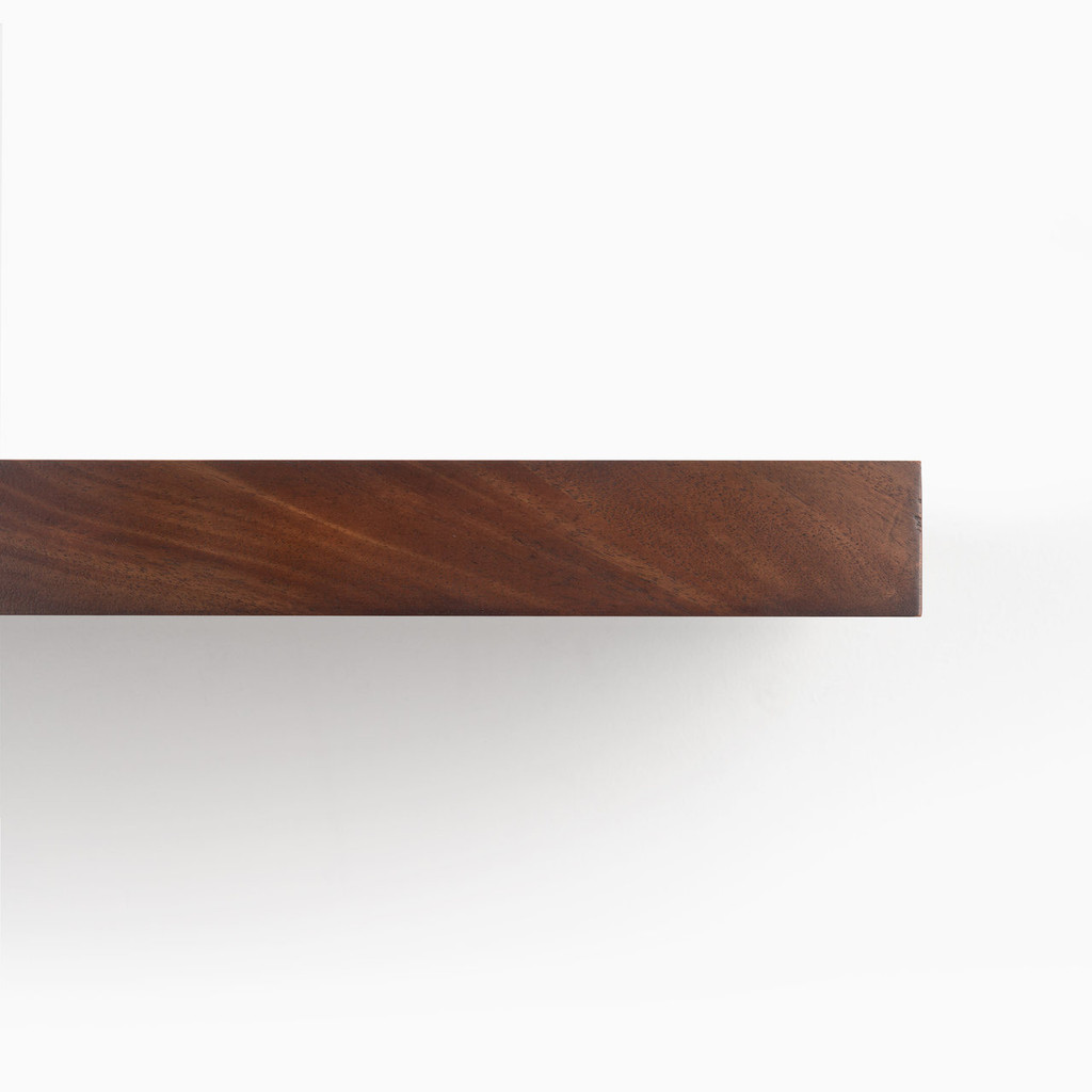 Front edge of our Dutch Mocha solid mahogany floating shelf. Perfect for any DYI'er or professional.