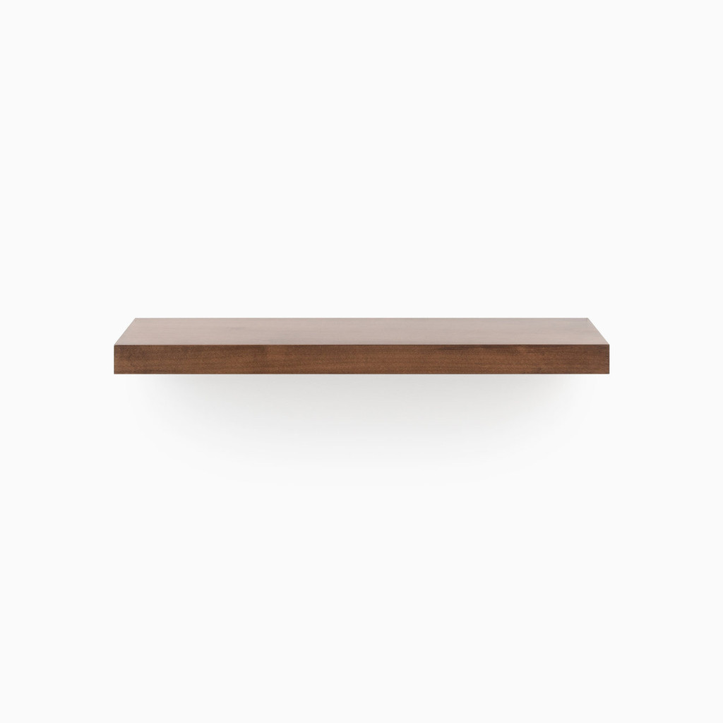 Dutch Mocha floating wood shelves Includes concealed shelf hardware.