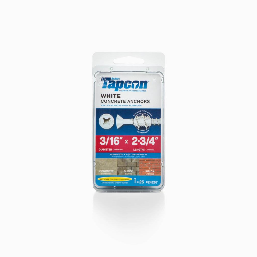Tapcon White Concrete Anchors 25 Count