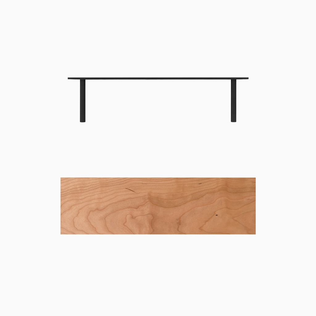 Solid Cherry floating wood shelves is easy to install. Includes our heavy duty floating shelf bracket.