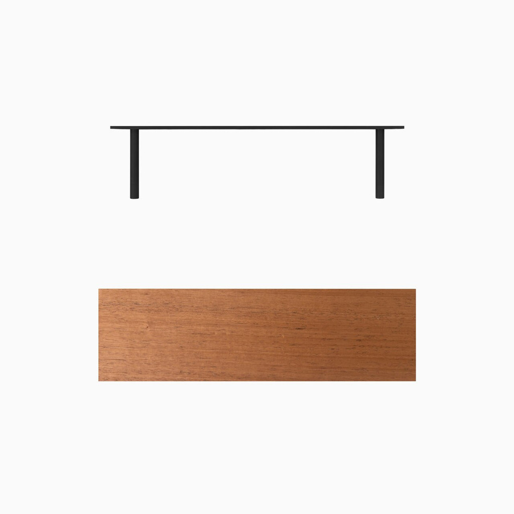 Our solid hardwood Mahogany floating shelf system is easy to install and will float real weight. If you've been looking for stunning designer floating shelves, our premium, cut-no-corners shelf is smooth, cut to your specified length, includes our heavy duty floating shelf hardware and is ready for you to apply the finish of your choice.