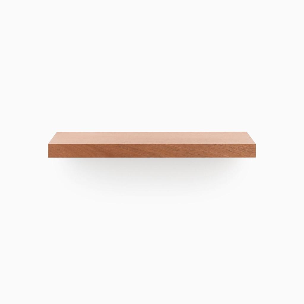 Designer floating wood shelves, built to length, includes our heavy duty floating shelf bracket.