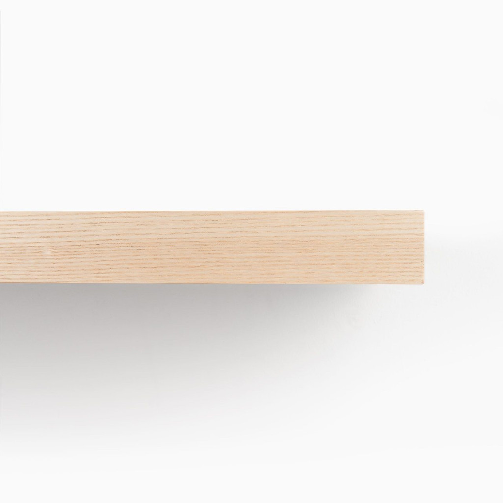 Detailed front edge of our Ash floating wood shelves.