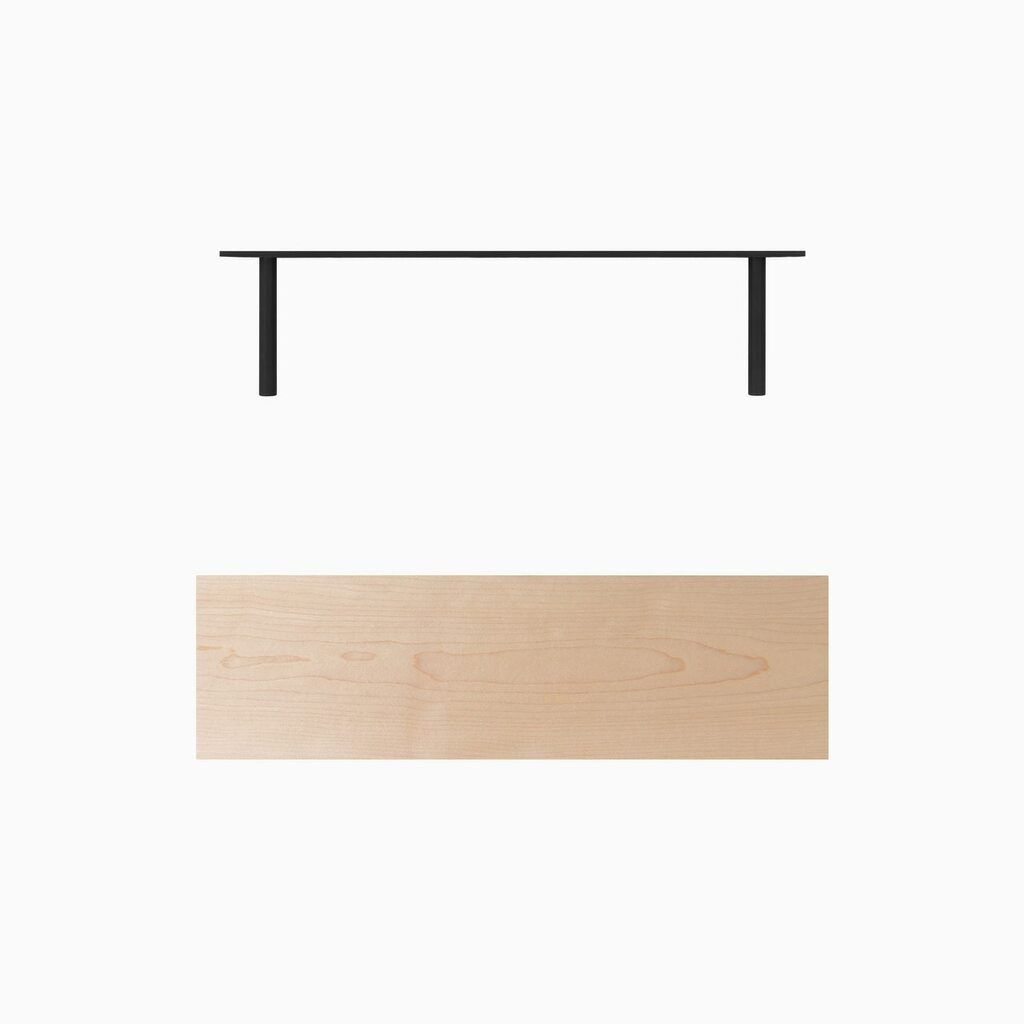 Solid Maple floating wood shelves with our heavy duty hidden shelf hardware. Ready to hang floating shelves.