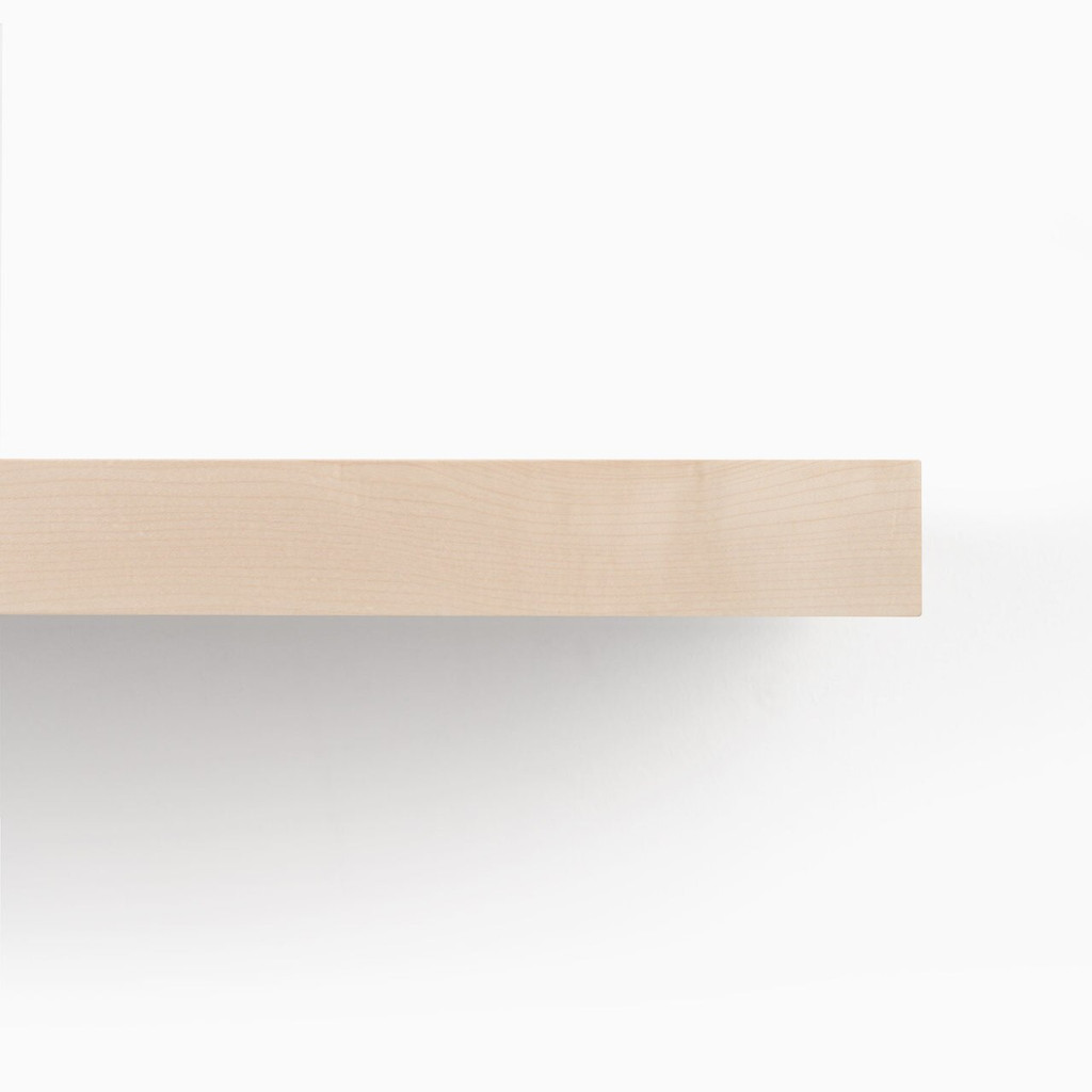 Detailed front edge of our Maple floating wood shelves.