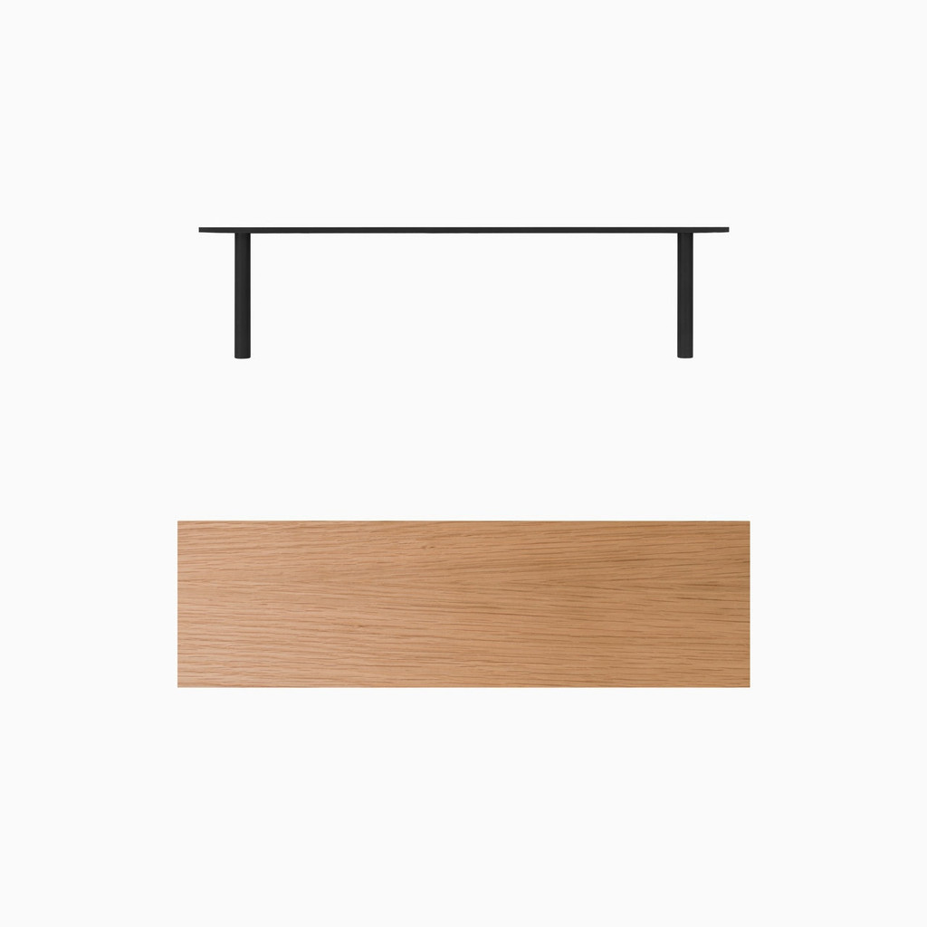 "Satin finished engineered white oak floating shelf. Choose any length from 12 to 84 inches. All shelf options are 2"" thick, available in 6"", 8"", 10"", and 12"" depths, and include heavy duty floating shelf bracket."