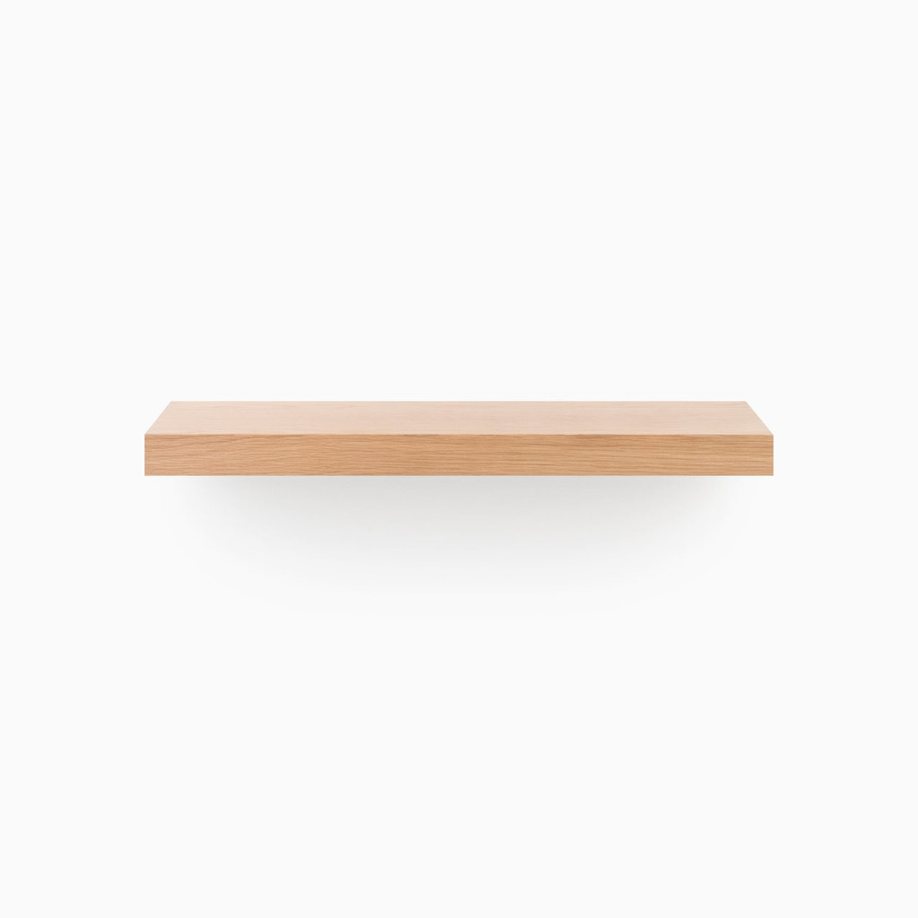 Stunning designer floating wood shelves, built to your specified length, includes our heavy duty floating shelf bracket.