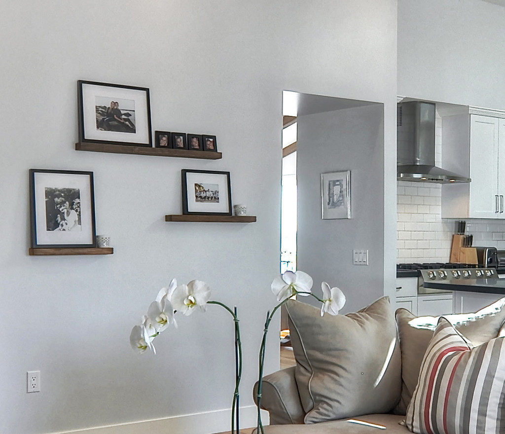 Three floating shelves in your living room