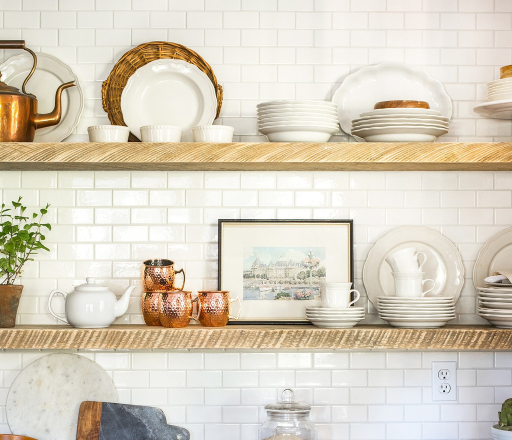 Rustic floating shelves the highlight on your kitchen