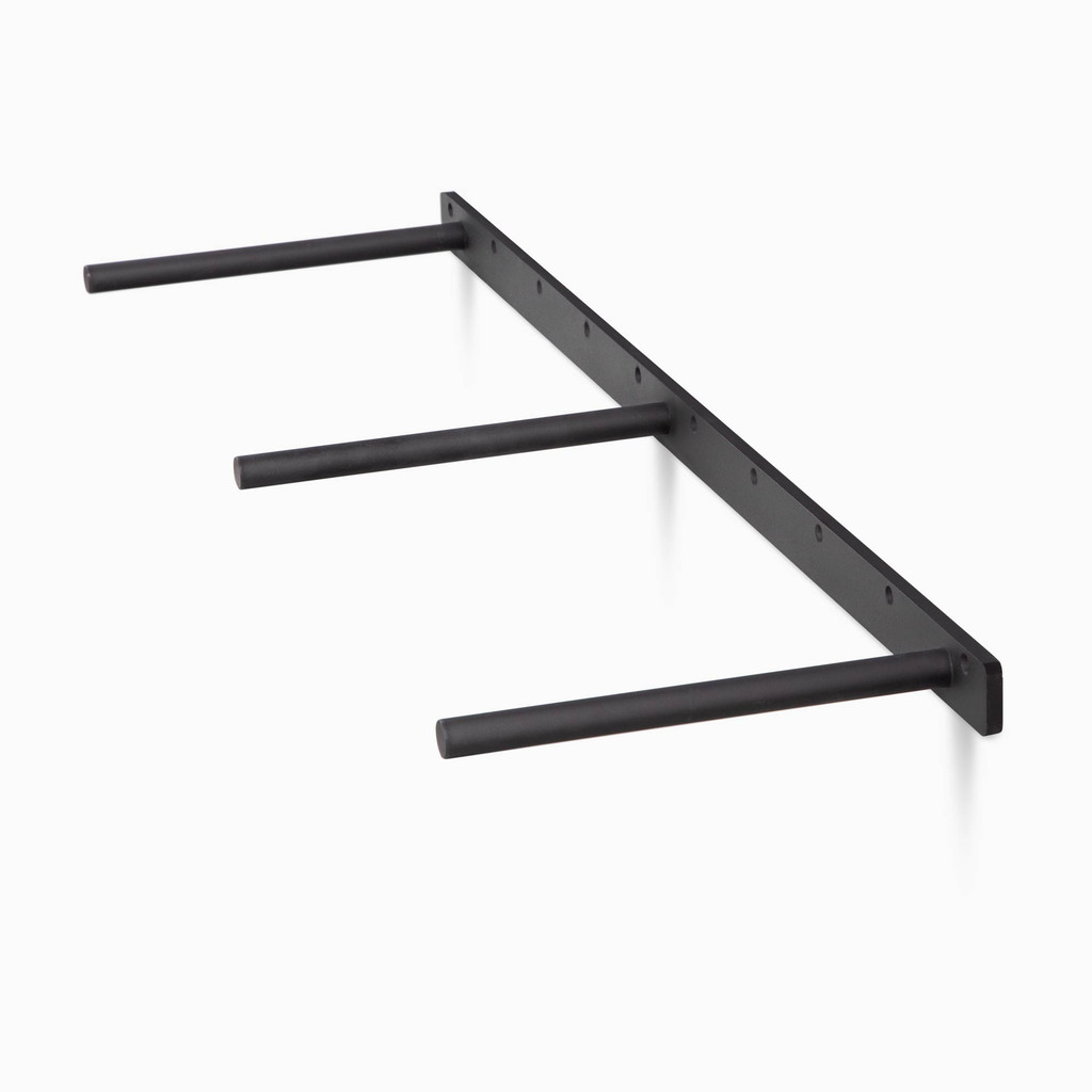 Three-quarter view of extra duty metal bracket, 15 lengths ready for your shelf