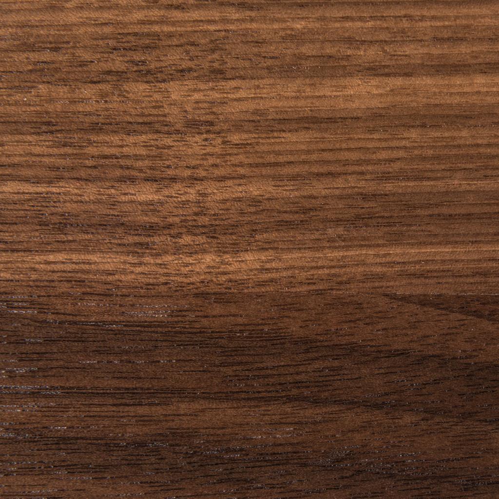 Clear satin walnut shelf, closeup