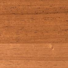 Clear satin finished mahogany shelf closeup