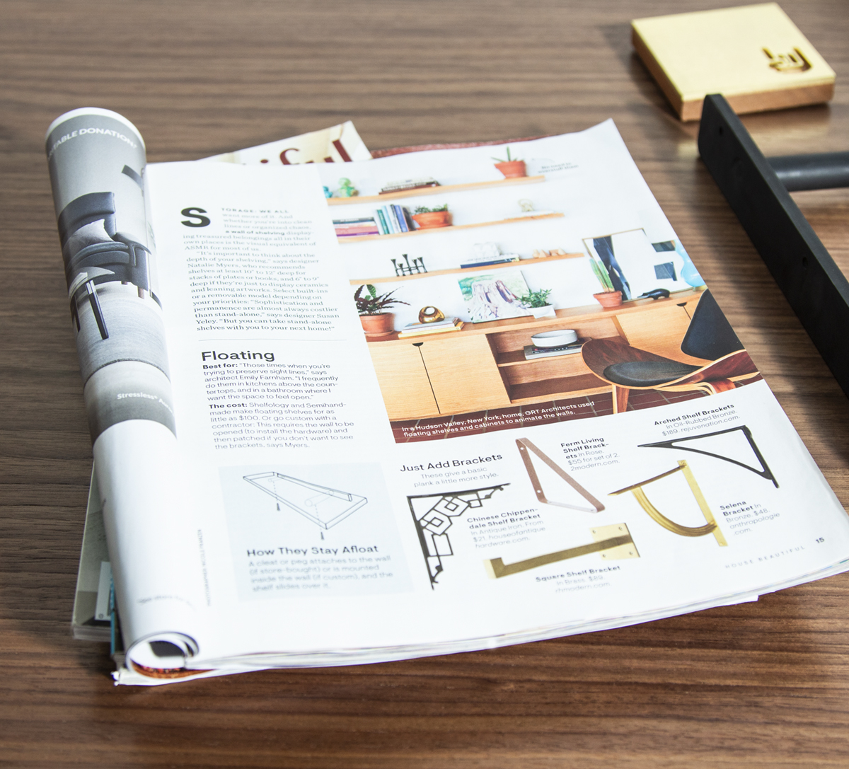 Floating Shelves by Shelfology featured in House Beautiful Magazine. Content Preview.