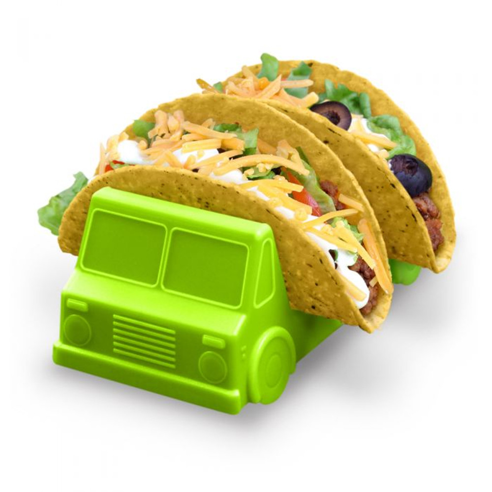 """As is Taco Tuesday wasn't already fun enough! Fred's Taco Truck Taco Holders feature two washable and food-safe plastic trays that hold tacos stable and upright. The 2-truck set is made from food-safe polypropylene and washes easily by hand. Includes 2 taco trucks- one salsa red and one guacamole green. Each measures 2.88"""" w x 6.7"""" h x 2.36"""" d."""