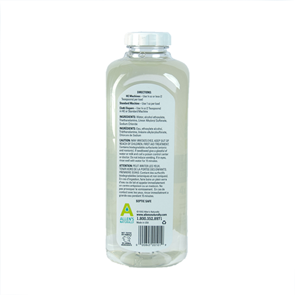 Rear image of Allen's Naturally Laundry Detergent Bottle