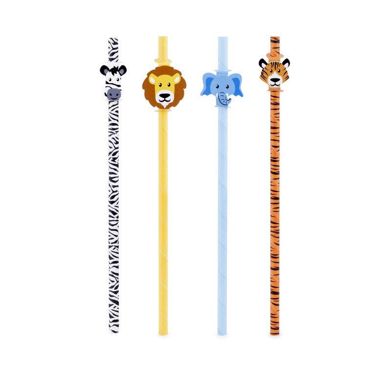 These adorable safari themed animal straws are safer for the environment,  made with recyclable paper.