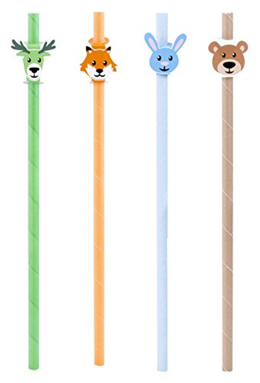 Adorable environmentally friendly paper straws of animals in the wilderness.
