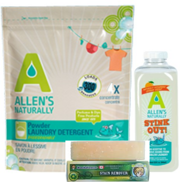 Allen's Naturally Detergent, Stain Stick & Stink Out! for Cloth Diapers and those who have been chemically injured or are extremely sensitive.     These products are extremely concentrated requiring the smallest amounts for HE machines, only 1/4 oz.   The Stink Out! is great for tough odors that will not come out in one rinse cycle, just add an ounce or two for great smelling laundry.  The Buncha Farms Stain Stick is just great for all stains including ring around the collar and cuffs.  We love that is not encased in plastic and yet easy to hold.