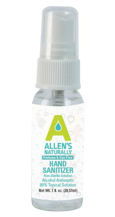 FDA Hand Sanitizer 1 ounce spray bottle.   No added fragrance or colors to Allen's Naturally hand sanitizers.