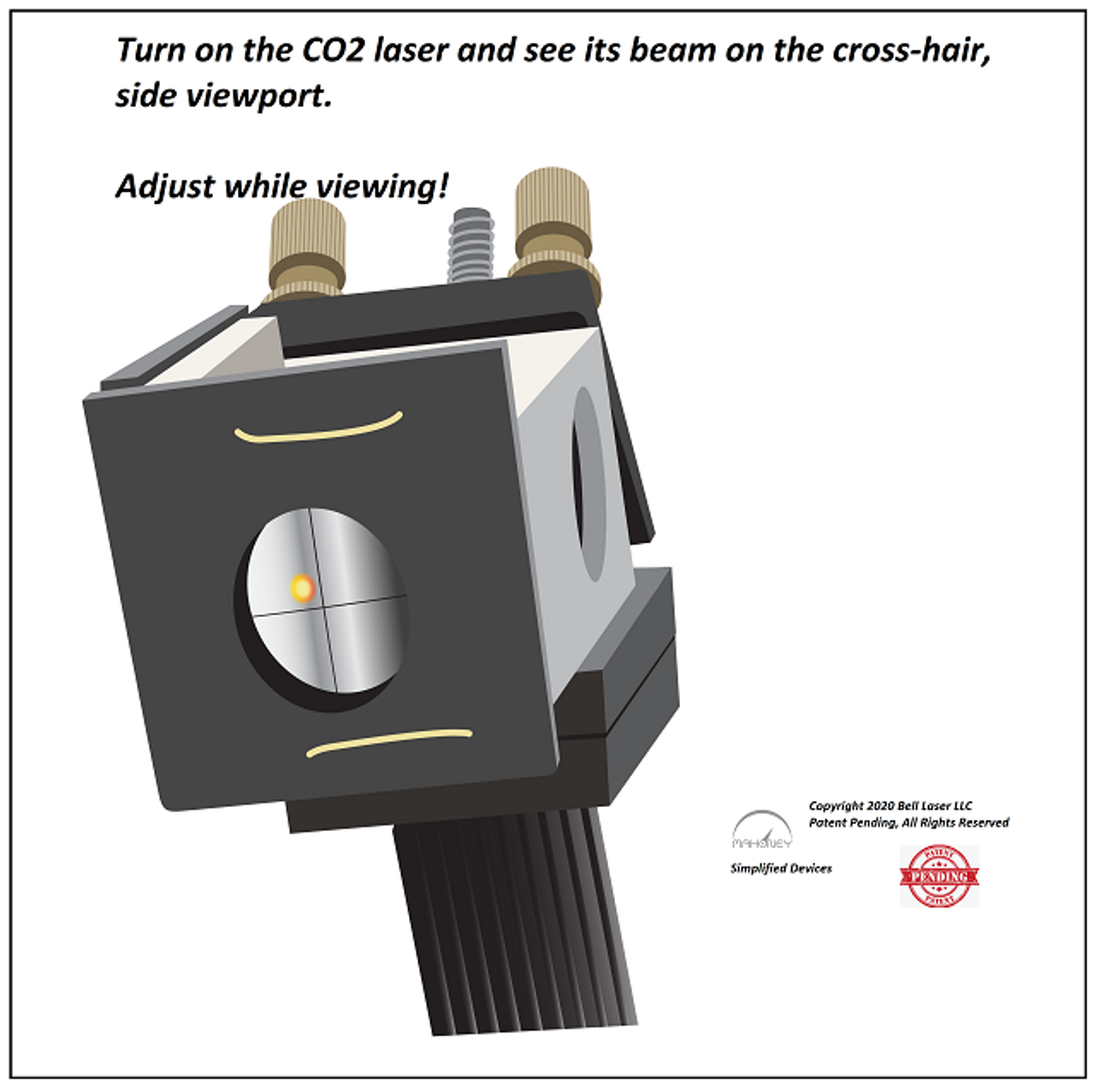 CO2 laser beam alignment visible spot