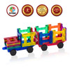 Playmags 2 Piece Car Set: With Stronger Magnets, STEM Toys for Kids, Use with all Magnetic Tiles and Blocks Sturdy, Super Durable with Vivid Clear Color Tiles. (Colors May Vary)