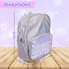 """Moore Iridescent Silver Water Resistant 14""""Backpack for Boys and Girls, Perfect Size School & Travel Briefcase for Books and Lunch."""