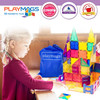 Playmags 30 Piece Squares Set: Now with Stronger Magnets, Sturdy, Super Durable with Vivid Clear Color Tiles