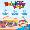 Play Build Rainbow Pegs and Board Deluxe 200pc Set, Montessori Baby toys, Stacking and Lacing Pegs, Baby and Toddler Toys, Play and Learn STEM Toy, Fine Motor Skills, Ages 1+