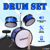 Kidstech Drum Set, First Junior and Adult Drum set with Microphone, Drumstick Pieces and seat, Musical Kid Friendly Band Toy for Boys, Girls and Adults Ages 3+.
