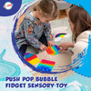 Playkidiz Fidget Popper -4 Pack Pop Its Toy, Fun Rainbow-Colored Shapes - Rainbow, Square, Octagon & Cupcake Push Pop Bubble Fidget Sensory Toy for Kids and Adults