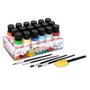 Playkidiz Washable Tempera Paints Set of 18 for children, Kids Non-Toxic Washable Acrylic Paint, Kid Friendly, Kid Safe Paint Set, Includes Variety of Brushes, Color, Craft, Create and Party.