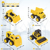 PlayKidz Set of 4 Heavy Toy Construction Trucks - Dump Truck, Road Roller, Bulldozer and Tractor, for Age 3 On Up