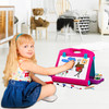 Playkidiz Art Double Sided Tabletop Art Easel For Kids, 2-In-1 Dry Erase Board and Chalkboard, Great Coloring Easel for Boys and Girls.