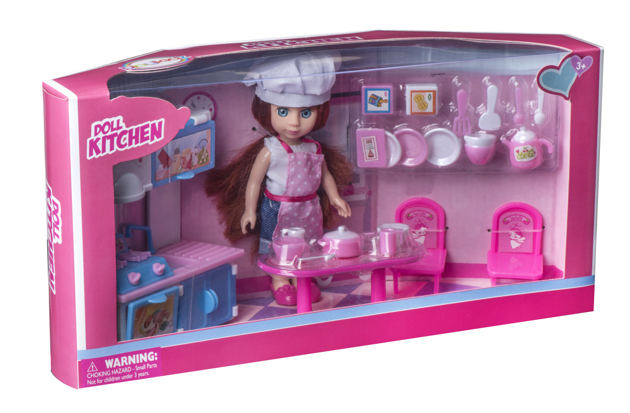 Playkidz Mini Doll Kitchen Playset: Pretend Play Mini Doll with Super  Durable Kitchen Accessories for Children\'s Doll house or just Fun Play.