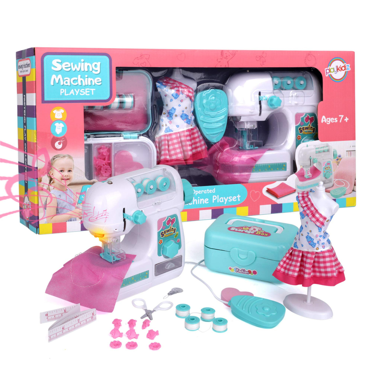 Recommended for Ages 7+ Playkidz Sewing Machine Play Set with Needle Guard Educational Toy Fashion Set with Mannequin and Storage Box