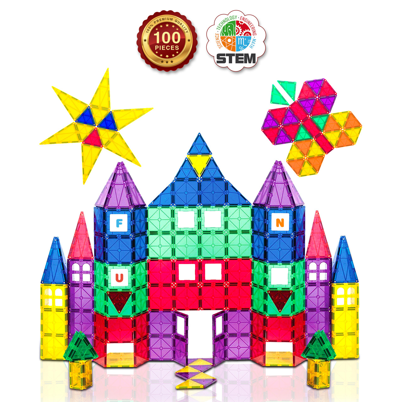 Playmags 3d Magnetic Blocks For Kids Set Of 100 Blocks To Learn Shapes Colors Alphabet Stem Magnetic Toys Develop Motor Skills Creativity Colorful Durable Magnet Building Tiles Idea Book Toys 4 U