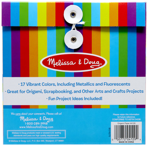 Melissa & Doug Origami Paper With 51 Sheets (6 x 6 Inches, Great Gift for Girls and Boys - Best for 5, 6, 7, 8, 9 Year Olds and Up)