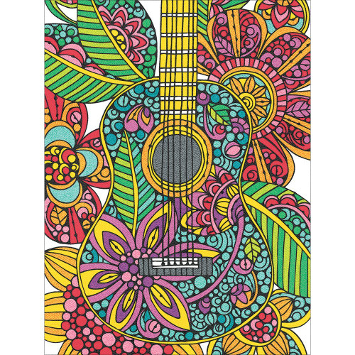 DIMENSIONS 73-91537 Blooming Guitar Pencil Color by Number Kit, 9'' W x 12'' L