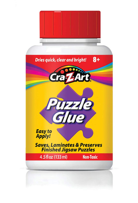 Jigsaw Puzzle Glue with Applicator! Saves, Laminates & Preserves Finished Jigsaw Puzzles! Easy to Apply, Dries Quick, Clear & Bright!