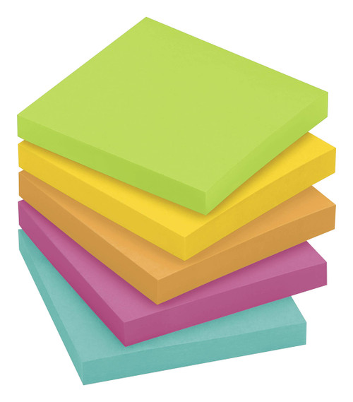 Post-it Notes, Jaipur Colors, America's #1 Favorite Sticky Note, Great for Reminders, 3 in. x 3 in, 5 Pads/Pack, 100 Sheets/Pad (654-5UC)