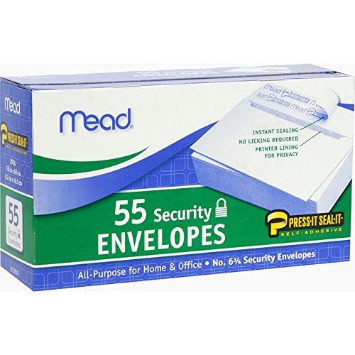 "Boxed Peel & Stick Envelopes 3.625""X6.5"" 55/Pkg-Security #6"