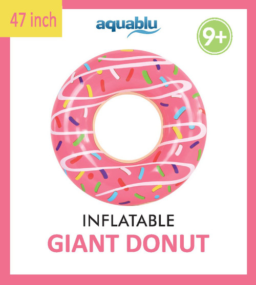 Aquablu Inflatable Inner Tube Cool Summer Swim Ring & Lounge Float for Pool Beach Lake River & More 47 Diameter Pink Sprinkle Donut Design Perfect for Kids Teens & Adults Ages 9+