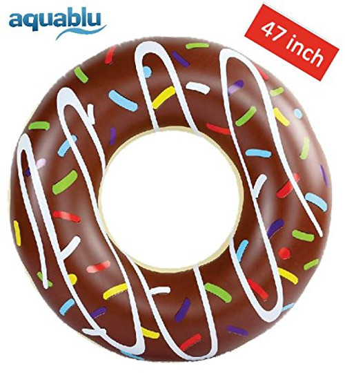 aquablu Inflatable Inner Tube Cool Summer Swim Ring & Lounge Float for Pool Beach Lake & More 47 Diameter Chocolate Sprinkle Donut Design Perfect for Kids Teens & Adults Ages 9+